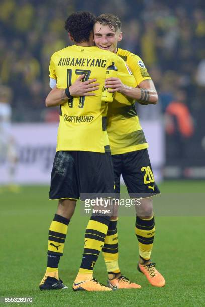 Spielende PierreEmerick Aubameyang of Dortmund and Maximilian Philipp of Dortmund looks on during the Bundesliga match between Borussia Dortmund and...