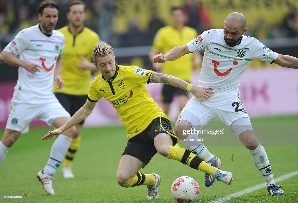 24 Spieltag Saison 2012/2013 Fussball Saison 20122013 1 Bundesliga 24 Spieltag Borussia Dortmund Hannover 96 31 Marco Reus mi gegen Sofian Chahed re