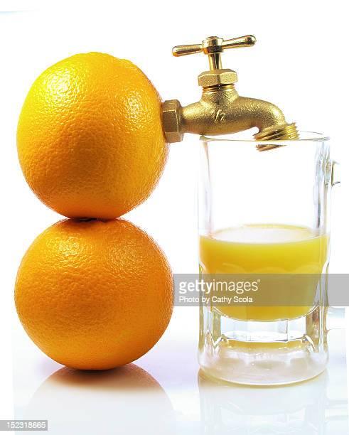 Spigot attached to oranges