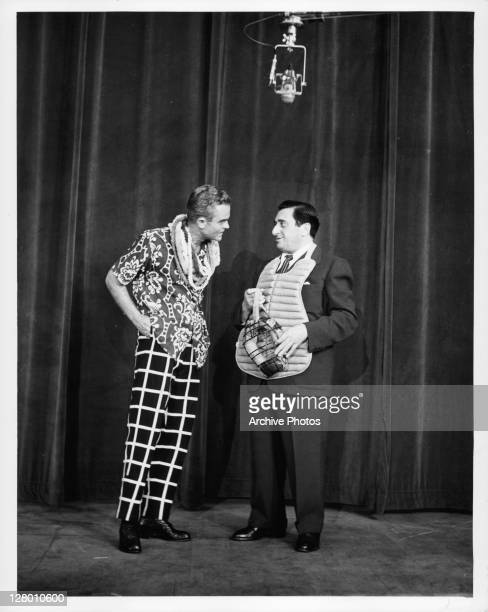 Spike Jones and Jan Peerce in a scene from the film 'Colgate Comedy Hour' 1955