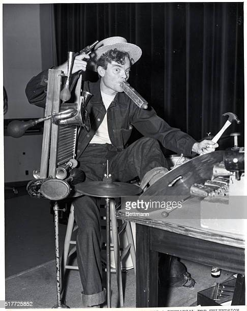 Spike Jones king of the cowbells during a rehersal for television show The colgate Comedy Hour Photograph 1951 BPA2# 1536
