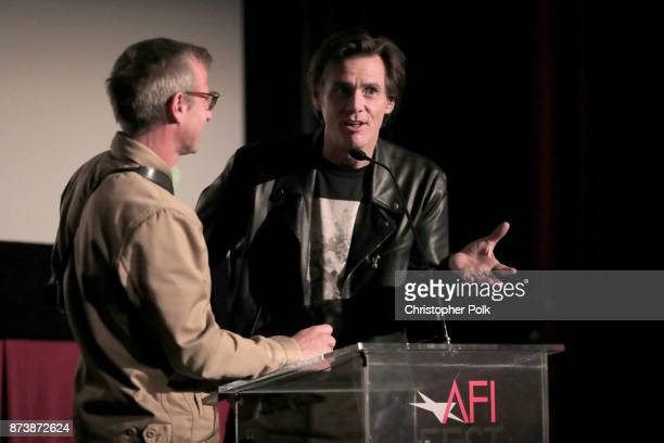 Spike Jonze and Jim Carrey speak onstage at 'Jim Andy The Great Beyond Featuring a Very Special Contractually Obligated Mention of Tony Clifton' at...