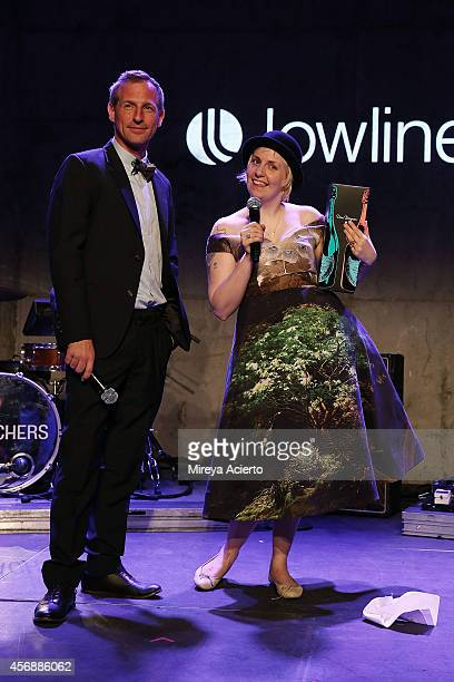 Spike Jonze and Lena Dunham attend the Lowline AntiGala Benefit Dinner at Skylight Modern on October 8 2014 in New York City