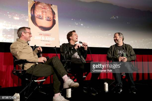 Spike Jonze Jim Carrey and Judd Apatow speak 'Jim Andy The Great Beyond Featuring a Very Special Contractually Obligated Mention of Tony Clifton' at...