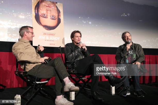 Spike Jonze Jim Carrey and Judd Apatow speak onstage during 'Jim Andy The Great Beyond Featuring a Very Special Contractually Obligated Mention of...