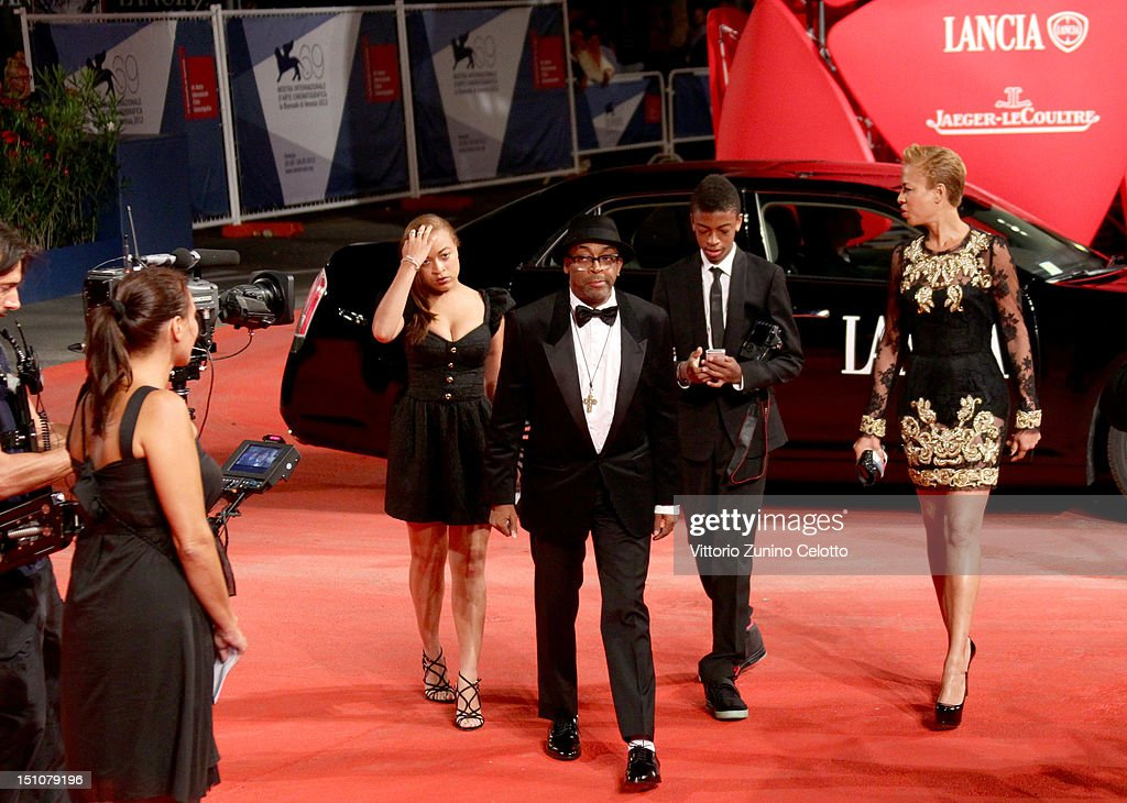<a gi-track='captionPersonalityLinkClicked' href=/galleries/search?phrase=Spike+Lee&family=editorial&specificpeople=156419 ng-click='$event.stopPropagation()'>Spike Lee</a> and family attend the 'Bad 25' Premiere during The 69th Venice Film Festival at the Palazzo del Cinema on August 31, 2012 in Venice, Italy.