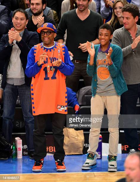 Spike Lee and Jackson Lee attend the Toronto Raptors vs New York Knicks game at Madison Square Garden on March 20 2012 in New York City