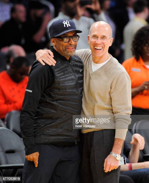 Spike Lee and Jeffrey Katzenberg attend a basketball game between the Los Angeles Clipers and the Los Angeles Lakers at Staples Center on March 6...