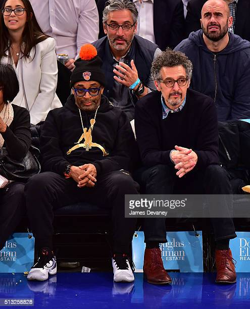 Spike Lee and John Turturro attend the Portland Trail Blazers vs New York Knicks game at Madison Square Garden on March 1 2016 in New York City