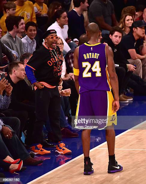 Spike Lee and Kobe Bryant attend New York Knicks vs Los Angeles Lakers game at Madison Square Garden on November 8 2015 in New York City