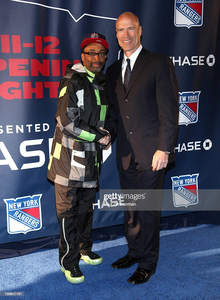Spike Lee and Mark Messier attend the New York Rangers home opener at Madison Square Garden on October 27, 2011 in New York City.