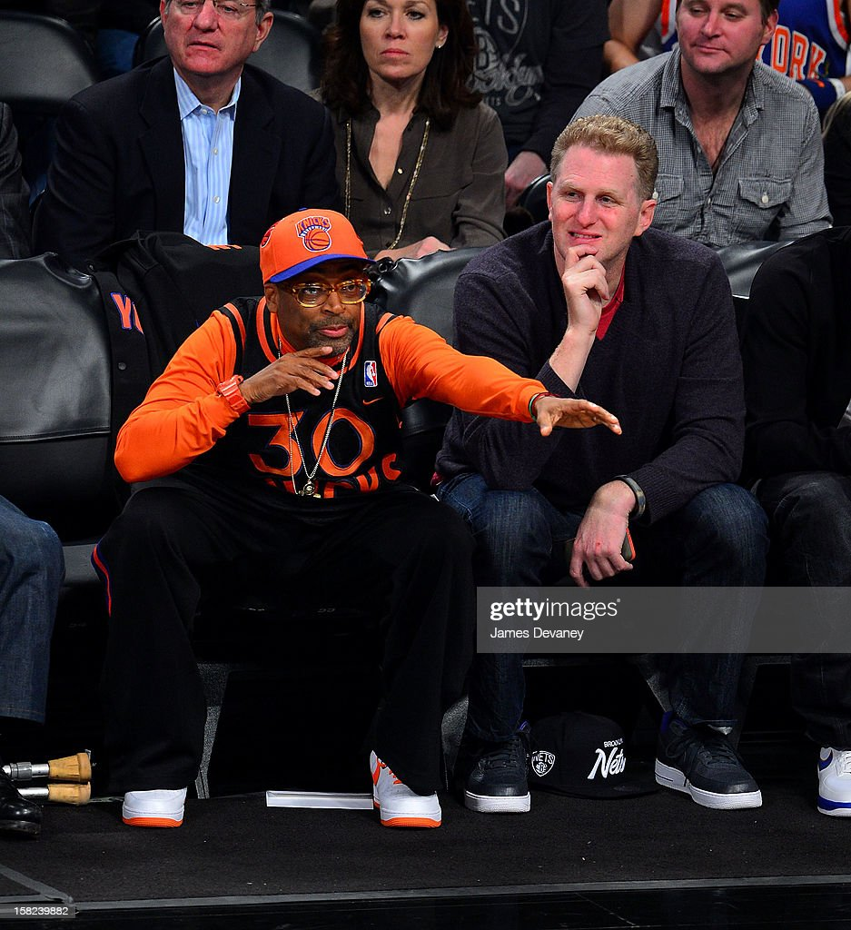 Spike Lee and Michael Rapaport attend the New York Knicks vs Brooklyn Nets game at Barclays Center on December 11, 2012 in the Brooklyn borough of New York City.