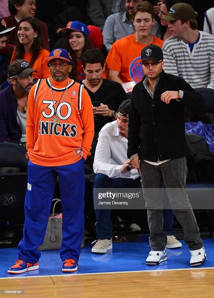 Spike Lee and Richie Akiva attend the Chicago Bulls vs New York Knicks game at Madison Square Garden on January 11, 2013 in New York City.