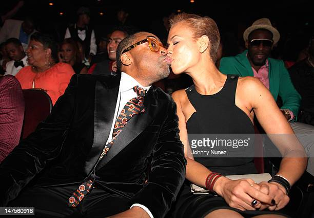 Spike Lee and Tonya Lewis Lee attend the 2012 BET Awards at The Shrine Auditorium on July 1 2012 in Los Angeles California