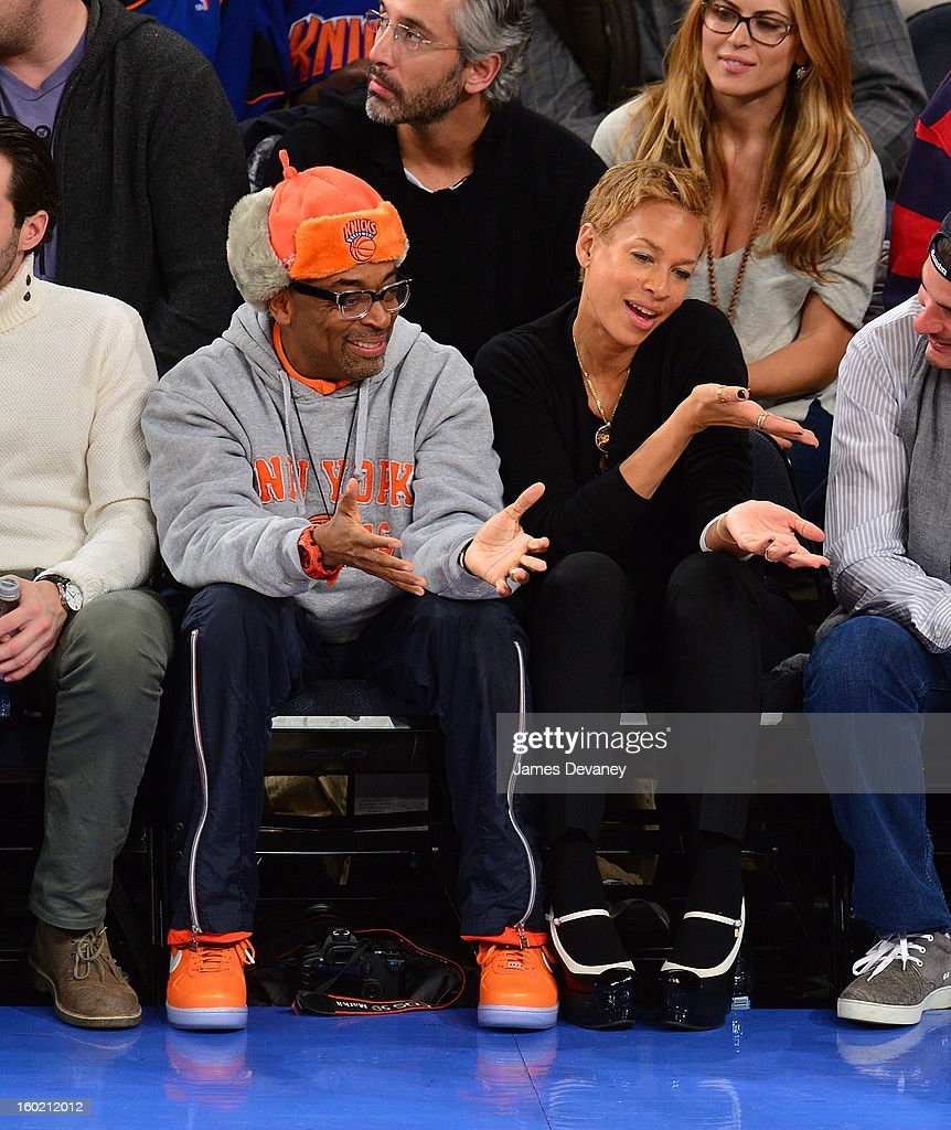 <a gi-track='captionPersonalityLinkClicked' href=/galleries/search?phrase=Spike+Lee&family=editorial&specificpeople=156419 ng-click='$event.stopPropagation()'>Spike Lee</a> and <a gi-track='captionPersonalityLinkClicked' href=/galleries/search?phrase=Tonya+Lewis+Lee&family=editorial&specificpeople=591625 ng-click='$event.stopPropagation()'>Tonya Lewis Lee</a> attend the Atlanta Hawks vs New York Knicks game at Madison Square Garden on January 27, 2013 in New York City.