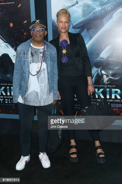 Spike Lee and Tonya Lewis Lee attend the US premiere of 'Dunkirk' at AMC Loews Lincoln Square IMAX on July 18 2017 in New York City