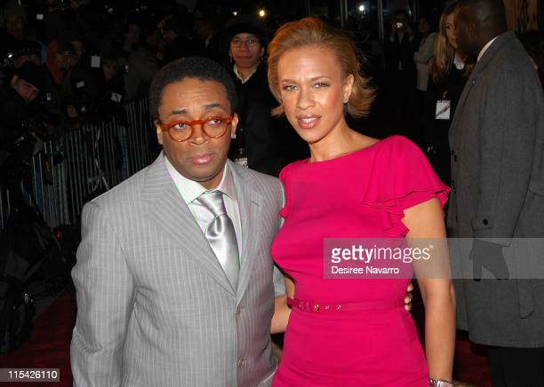 Spike Lee and Tonya Lewis Lee during 'Inside Man' New York City Premiere at Ziegfield Theater in New York City New York United States