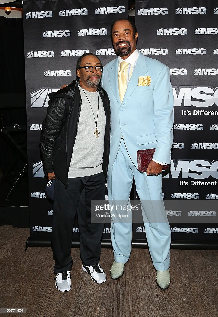 Spike Lee and Walt Clyde Frazier attends MSG Networks' 201415 Season Kickoff at Catch Roof on October 6 2014 in New York City