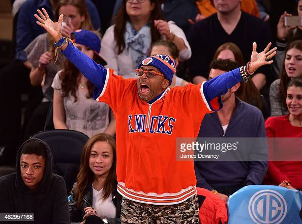 Spike Lee attends Golden State Warriors vs New York Knicks game at Madison Square Garden on February 7 2015 in New York City