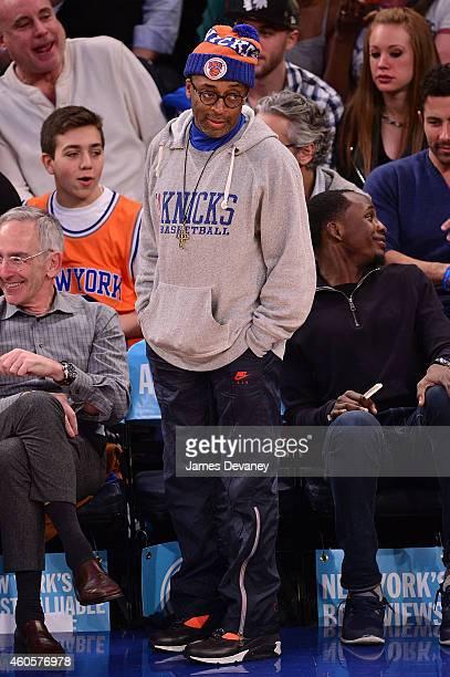 Spike Lee attends New York Knicks vs Dallas Mavericks game at Madison Square Garden on December 16 2014 in New York City