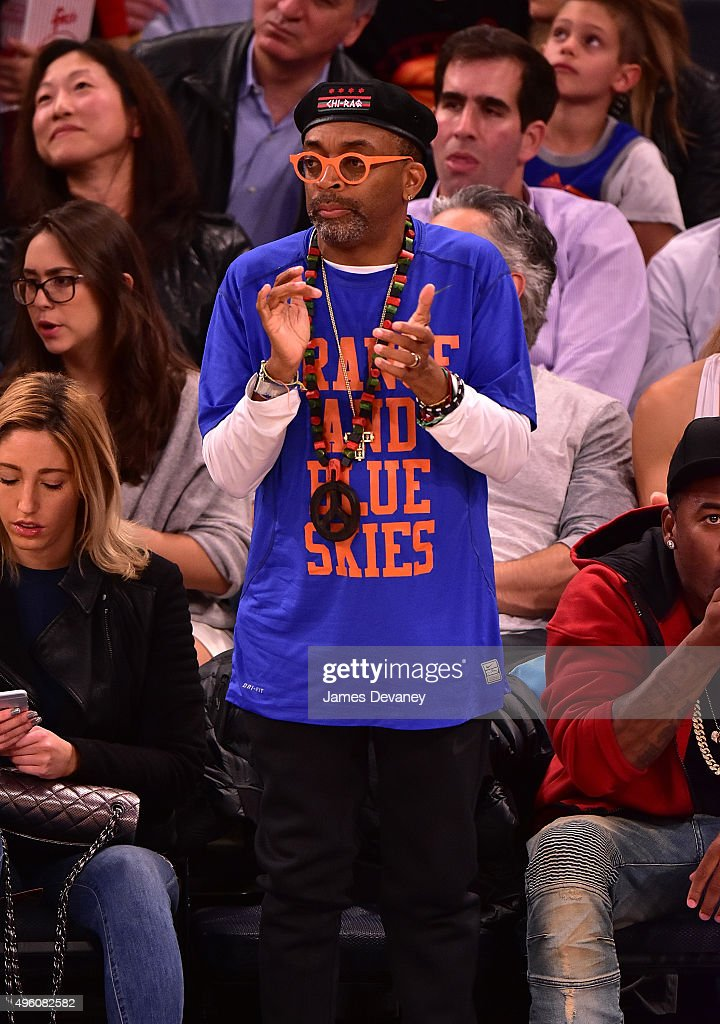 Spike Lee attends New York Knicks vs Milwaukee Bucks game at Madison Square Garden on November 6, 2015 in New York City.