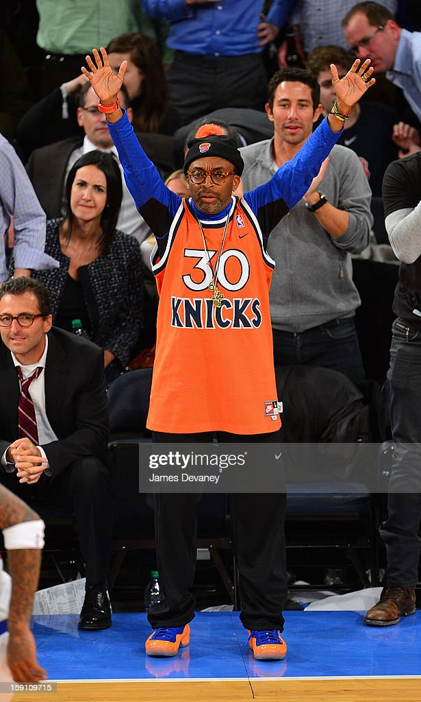 Spike Lee attends the Boston Celtics vs New York Knicks game at Madison Square Garden on January 7, 2013 in New York City.