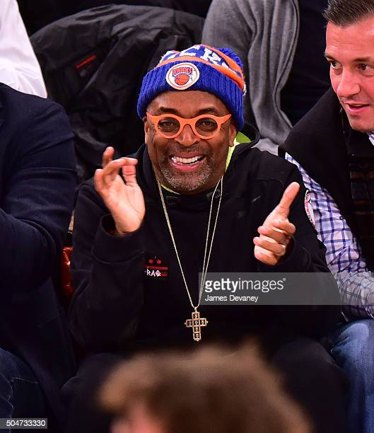 Spike Lee attends the Boston Celtics vs New York Knicks game at Madison Square Garden on January 12 2016 in New York City