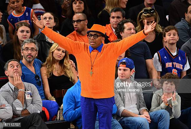 Spike Lee attends the Boston Celtics vs New York Knicks Playoff Game at Madison Square Garden on April 20 2013 in New York City