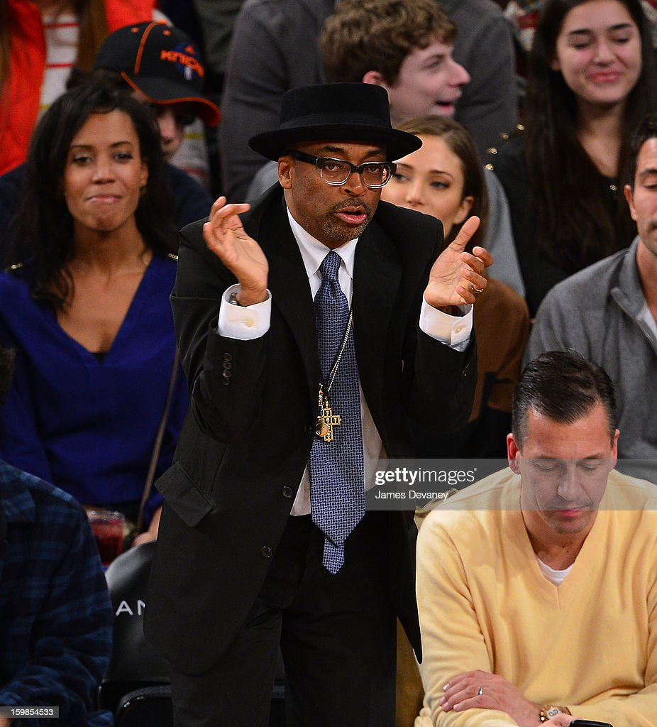 Spike Lee attends the Brooklyn Nets vs New York Knicks game at Madison Square Garden on January 21, 2013 in New York City.