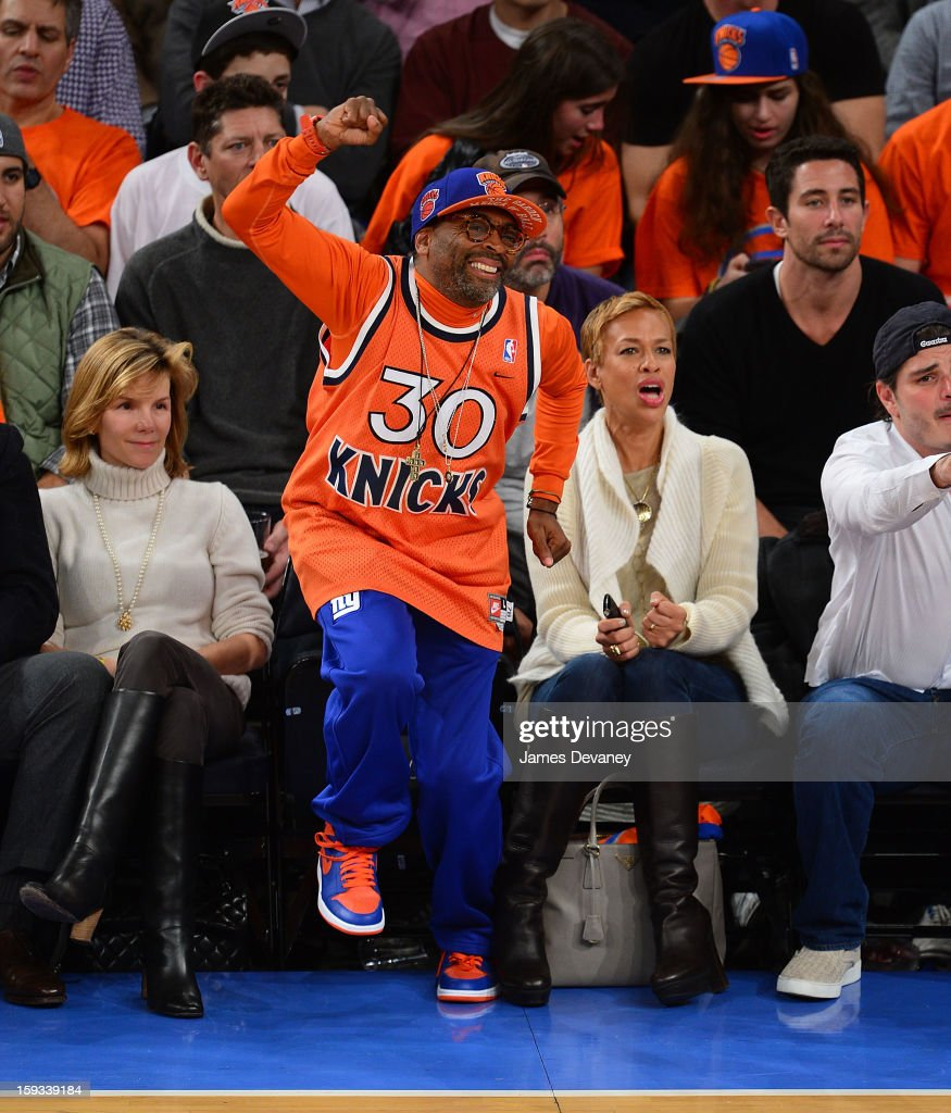 Spike Lee attends the Chicago Bulls vs New York Knicks game at Madison Square Garden on January 11, 2013 in New York City.