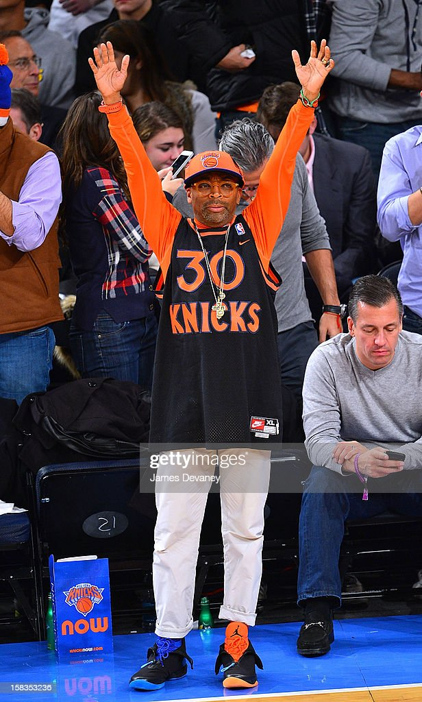 Spike Lee attends the Los Angeles Lakers vs New York Knicks game at Madison Square Garden on December 13, 2012 in New York City.