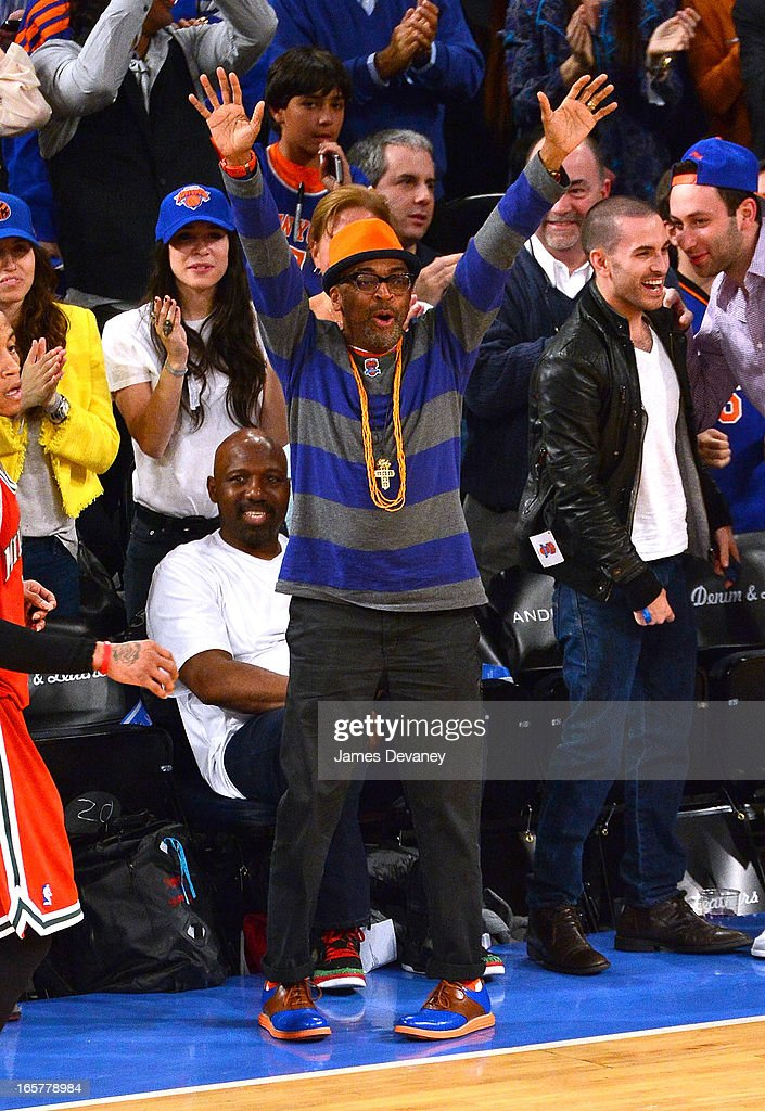 <a gi-track='captionPersonalityLinkClicked' href=/galleries/search?phrase=Spike+Lee&family=editorial&specificpeople=156419 ng-click='$event.stopPropagation()'>Spike Lee</a> attends the Milwaukee Bucks vs New York Knicks game at Madison Square Garden on April 5, 2013 in New York City.