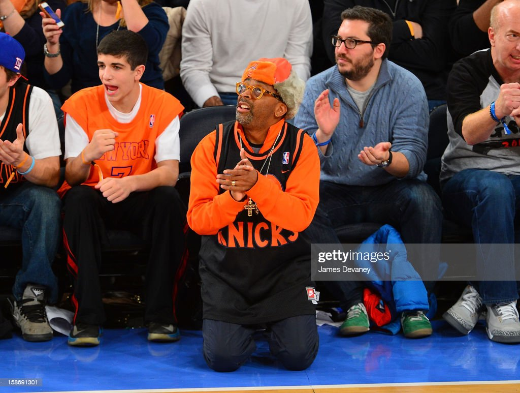 Spike Lee attends the Minnesota Timberwolves vs New York Knicks game at Madison Square Garden on December 23, 2012 in New York City.