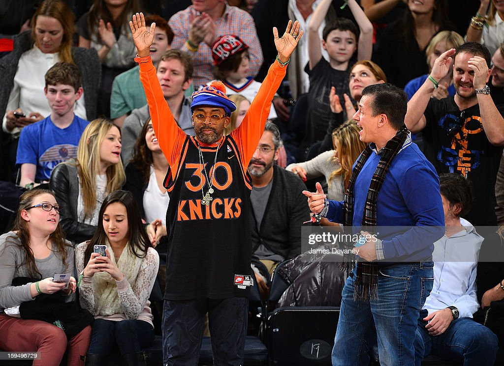 Spike Lee attends the New Orleans Hornets vs New York Knicks game at Madison Square Garden on January 13, 2013 in New York City.