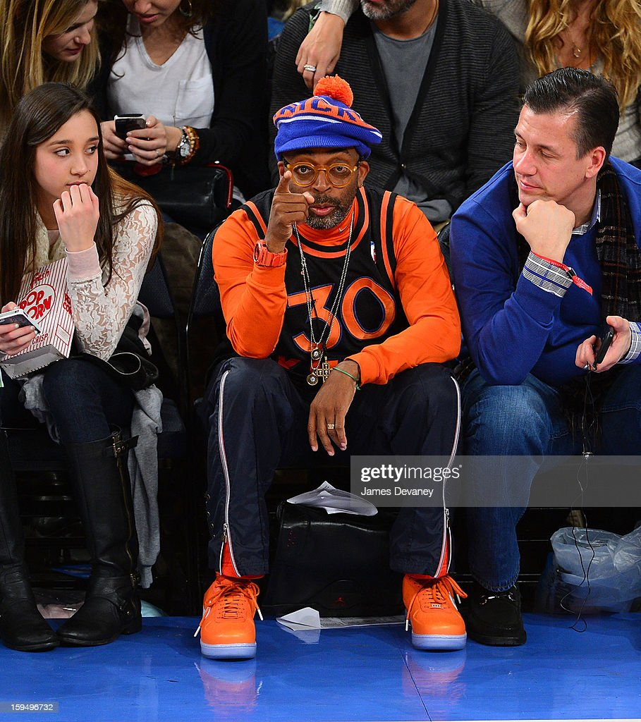 <a gi-track='captionPersonalityLinkClicked' href=/galleries/search?phrase=Spike+Lee&family=editorial&specificpeople=156419 ng-click='$event.stopPropagation()'>Spike Lee</a> attends the New Orleans Hornets vs New York Knicks game at Madison Square Garden on January 13, 2013 in New York City.