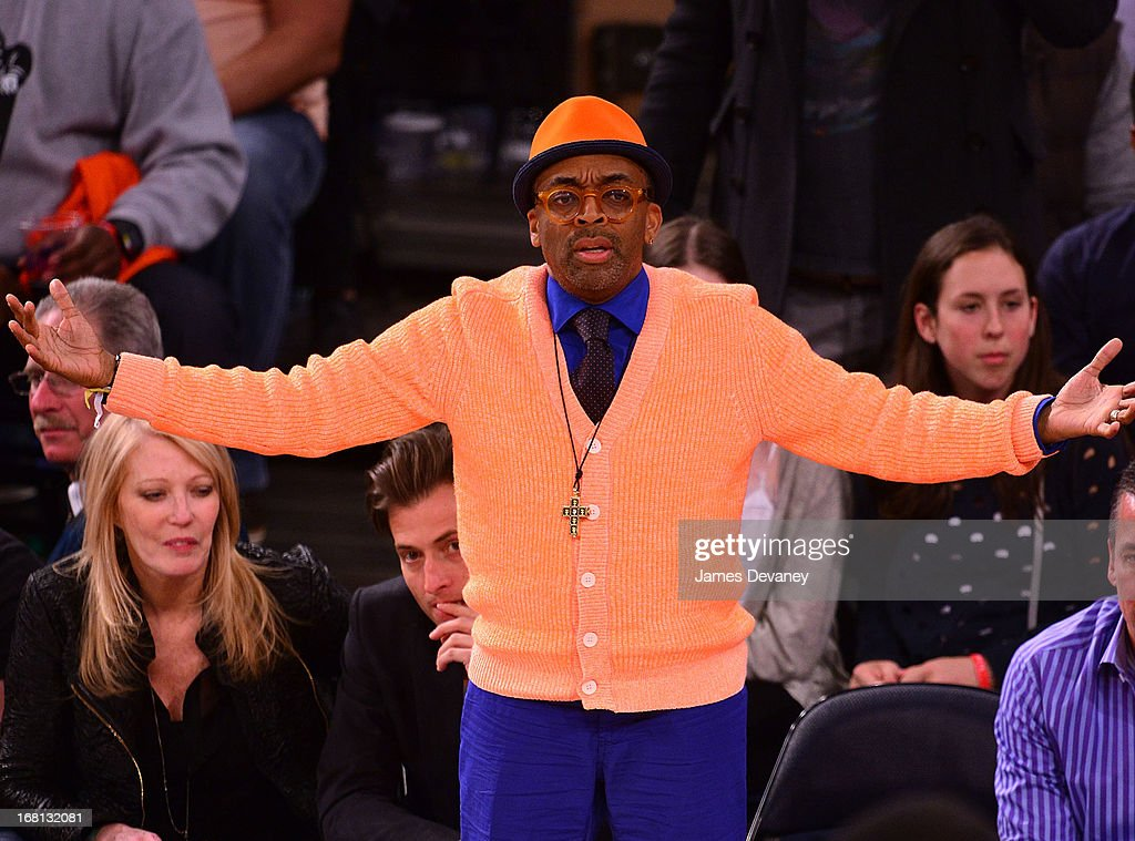 <a gi-track='captionPersonalityLinkClicked' href=/galleries/search?phrase=Spike+Lee&family=editorial&specificpeople=156419 ng-click='$event.stopPropagation()'>Spike Lee</a> attends the New York Knicks vs Indiana Pacers NBA playoff game at Madison Square Garden on May 5, 2013 in New York City.