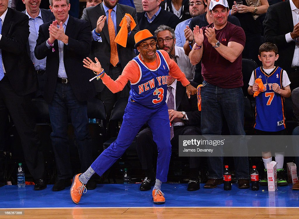 <a gi-track='captionPersonalityLinkClicked' href=/galleries/search?phrase=Spike+Lee&family=editorial&specificpeople=156419 ng-click='$event.stopPropagation()'>Spike Lee</a> attends the New York Knicks vs Indiana Pacers NBA Playoff Game at Madison Square Garden on May 7, 2013 in New York City.