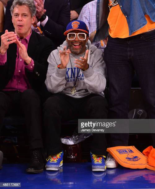 Spike Lee attends the Toronto Raptors vs New York Knicks game at Madison Square Garden on April 16 2014 in New York City