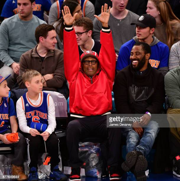 Spike Lee attends the Toronto Raptors Vs New York Knicks game at Madison Square Garden on November 22 2017 in New York City