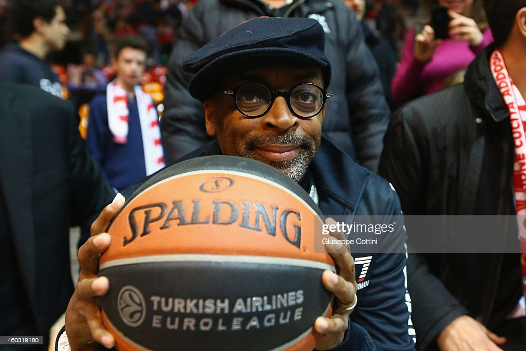 <a gi-track='captionPersonalityLinkClicked' href=/galleries/search?phrase=Spike+Lee&family=editorial&specificpeople=156419 ng-click='$event.stopPropagation()'>Spike Lee</a> before the 2014-2015 Turkish Airlines Euroleague Basketball Regular Season Date 9 game between EA7 Emporio Armani Milan v Panathinaikos Athens at Paladesio on December 11, 2014 in Desio, Italy.