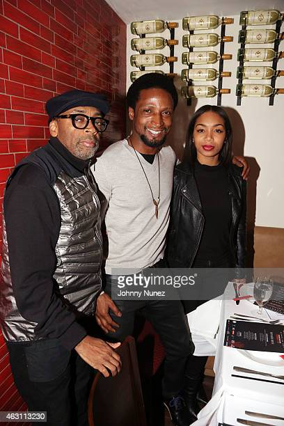 Spike Lee Elvis Nolasco and Zaraah Abrahams attend 'Da Sweet Blood Of Jesus' dinner reception at Red Stixs on February 9 in New York City