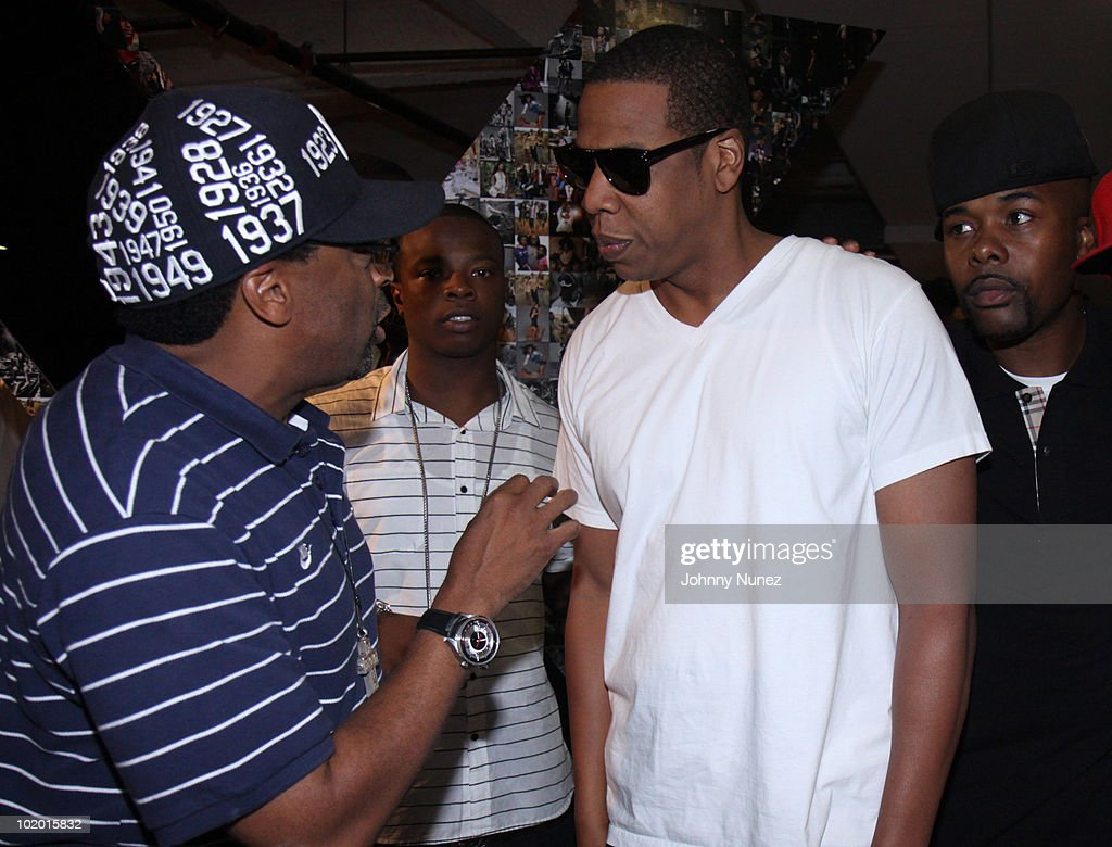 Spike Lee, G-Baby, Jay-Z, and Memphis Bleek attend Rocawear's 10th Anniversary party at the Rocawear Showroom on August 10, 2009 in New York City.