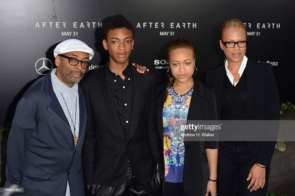 <a gi-track='captionPersonalityLinkClicked' href=/galleries/search?phrase=Spike+Lee&family=editorial&specificpeople=156419 ng-click='$event.stopPropagation()'>Spike Lee</a>, Jackson Lee, Satchel Lee and <a gi-track='captionPersonalityLinkClicked' href=/galleries/search?phrase=Tonya+Lewis+Lee&family=editorial&specificpeople=591625 ng-click='$event.stopPropagation()'>Tonya Lewis Lee</a> attend the 'After Earth' premiere at the Ziegfeld Theater on May 29, 2013 in New York City.