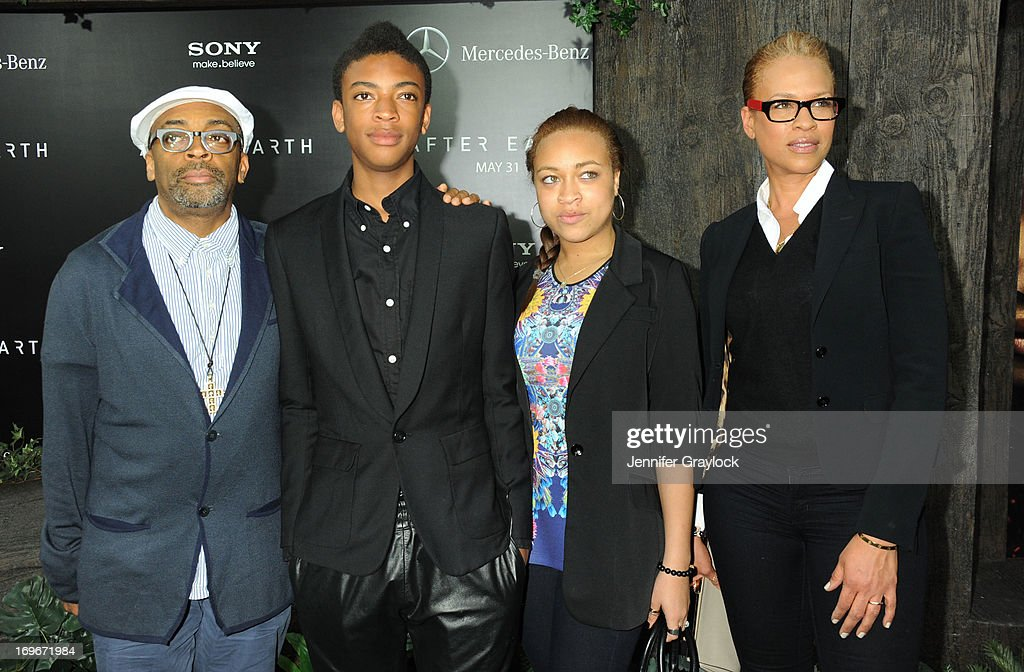 Spike Lee, Jackson Lee, Satchel Lee and Tonya Lewis Lee attend the 'After Earth' premiere at Ziegfeld Theater on May 29, 2013 in New York City.