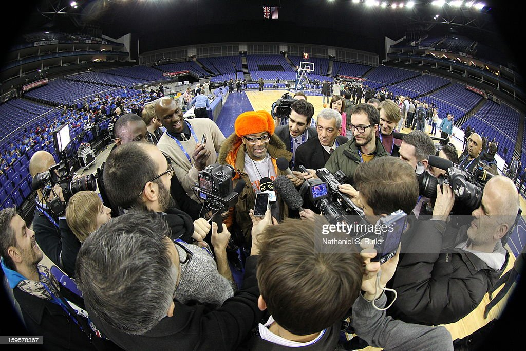 Spike Lee, life long New York Knicks supporter, fields questions during practice at the O2 Arena on January 16, 2013 in London, England.
