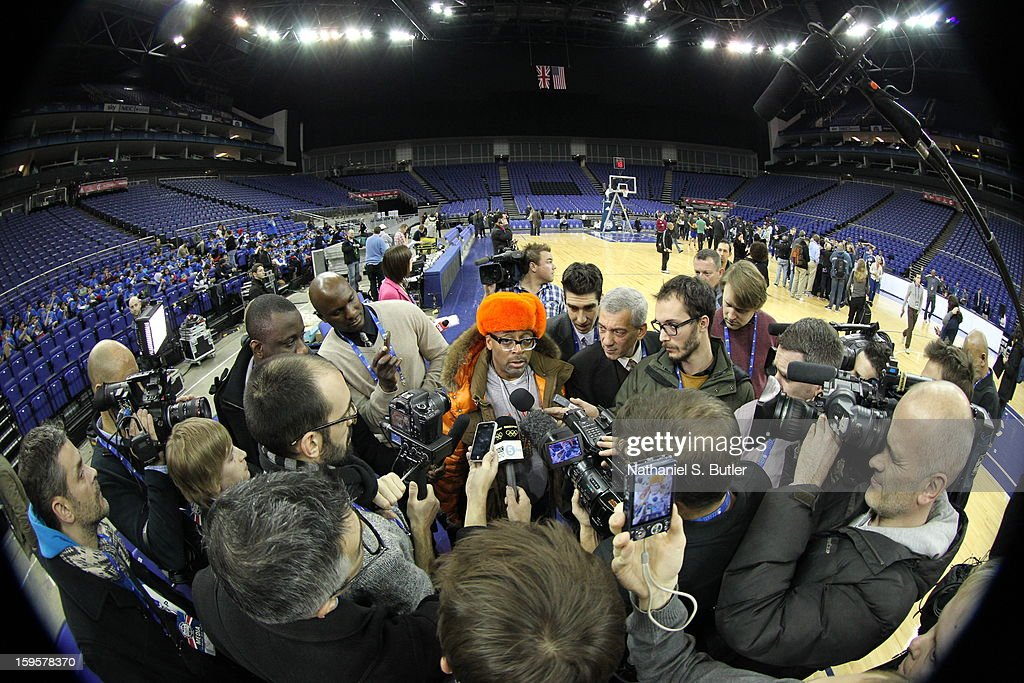 Spike Lee, life long New York Knicks supporter, fields questions from the press during practice at the O2 Arena on January 16, 2013 in London, England.