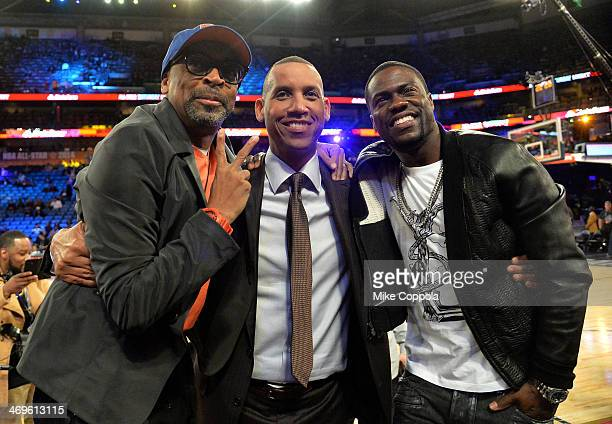 Spike Lee Reggie Miller and Kevin Hart attend the State Farm AllStar Saturday Night during the NBA AllStar Weekend 2014 at The Smoothie King Center...