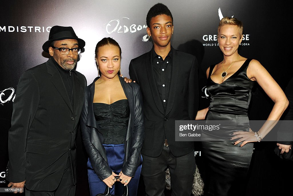 <a gi-track='captionPersonalityLinkClicked' href=/galleries/search?phrase=Spike+Lee&family=editorial&specificpeople=156419 ng-click='$event.stopPropagation()'>Spike Lee</a>, Satchel Lee, Jackson Lee and wife <a gi-track='captionPersonalityLinkClicked' href=/galleries/search?phrase=Tonya+Lewis+Lee&family=editorial&specificpeople=591625 ng-click='$event.stopPropagation()'>Tonya Lewis Lee</a> attend the screening of 'Oldboy' hosted by FilmDistrict and Complex Media with the Cinema Society and Grey Goose at AMC Lincoln Square Theater on November 11, 2013 in New York City.