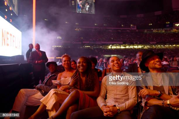 Spike Lee Tonya Lewis Lee DeWanda Wise Anthony Ramos and Cleo Bent watch the first clip of 'Shes Gotta Have It' during 2017 Essence Festival Day 2 on...