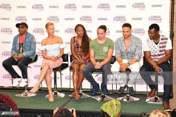 Spike Lee Tonya Lewis Lee DeWanda Wise Anthony Ramos Cleo Anthony and Lyriq Bent of 'She's Gotta Have It' pose in the press room at the 2017 ESSENCE...